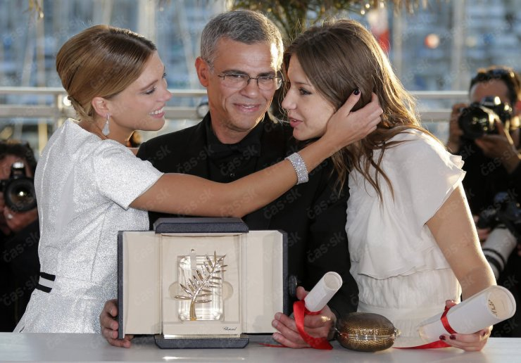 Abdellatif Kechiche, Adèle Exarchopoulos and Léa Seydoux share the Palme d'Or at this year's Cannes Film Festival.